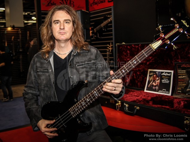 david ellefson bass player for megadeth holds the just announced cliff burton aria pro ii. Black Bedroom Furniture Sets. Home Design Ideas